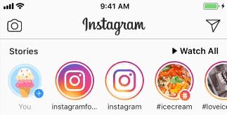 instagram stories topbar