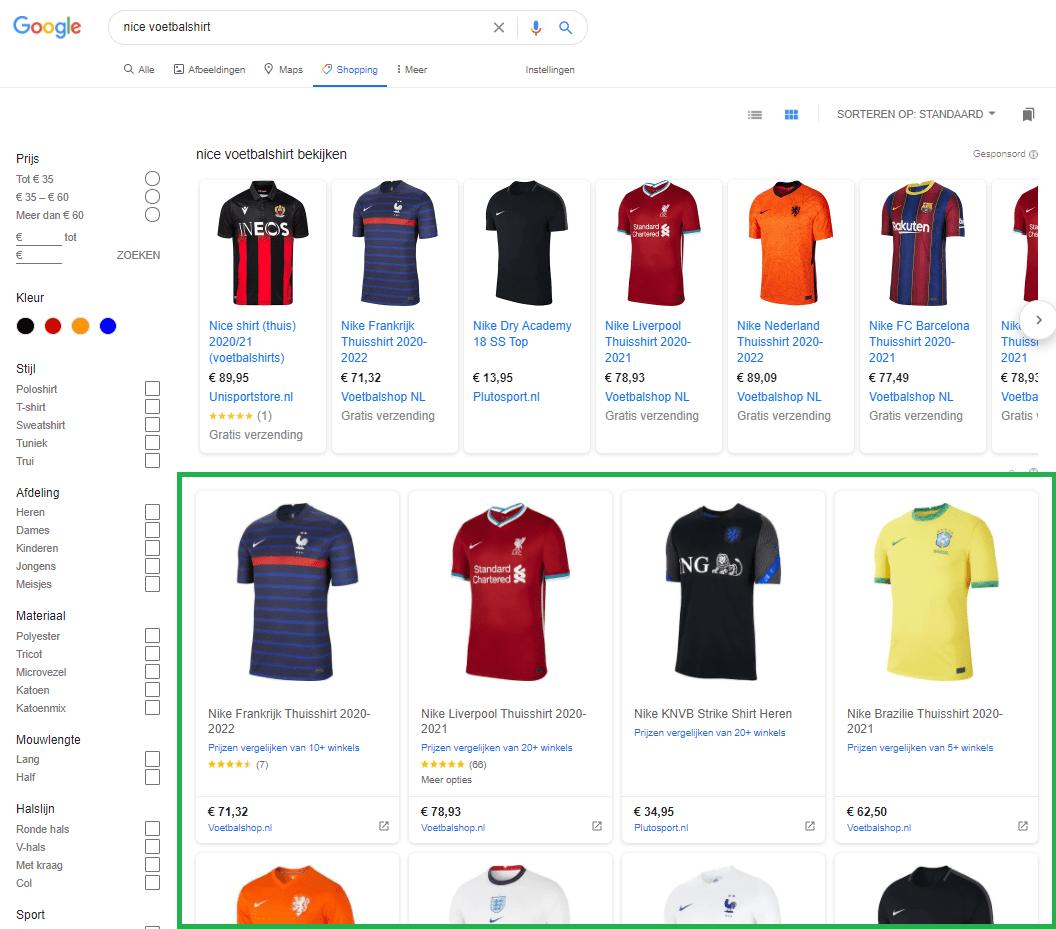 google organic shopping - voorbeeld