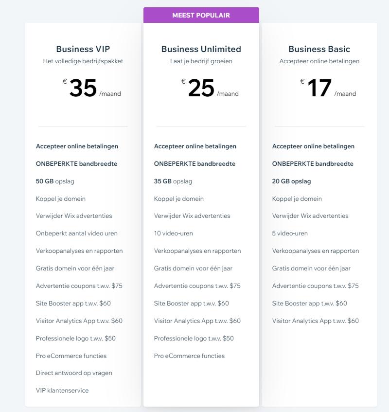 wix webshop prijzen
